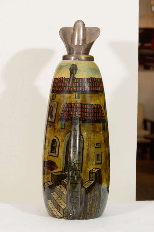 Goatskin Aldo Tura Hand-Painted Parchment Carafe  For Sale