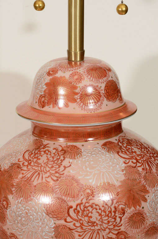 Marbro Cinnabar Chrysanthemum Porcelain Lamps For Sale 1