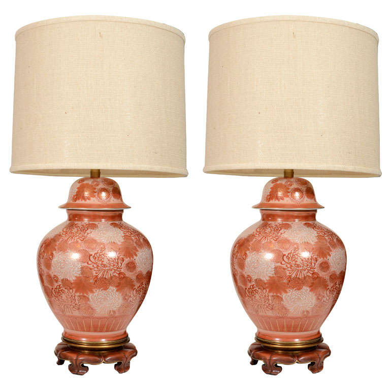 Marbro Cinnabar Chrysanthemum Porcelain Lamps For Sale