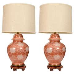 Marbro Cinnabar Chrysanthemum Porcelain Lamps