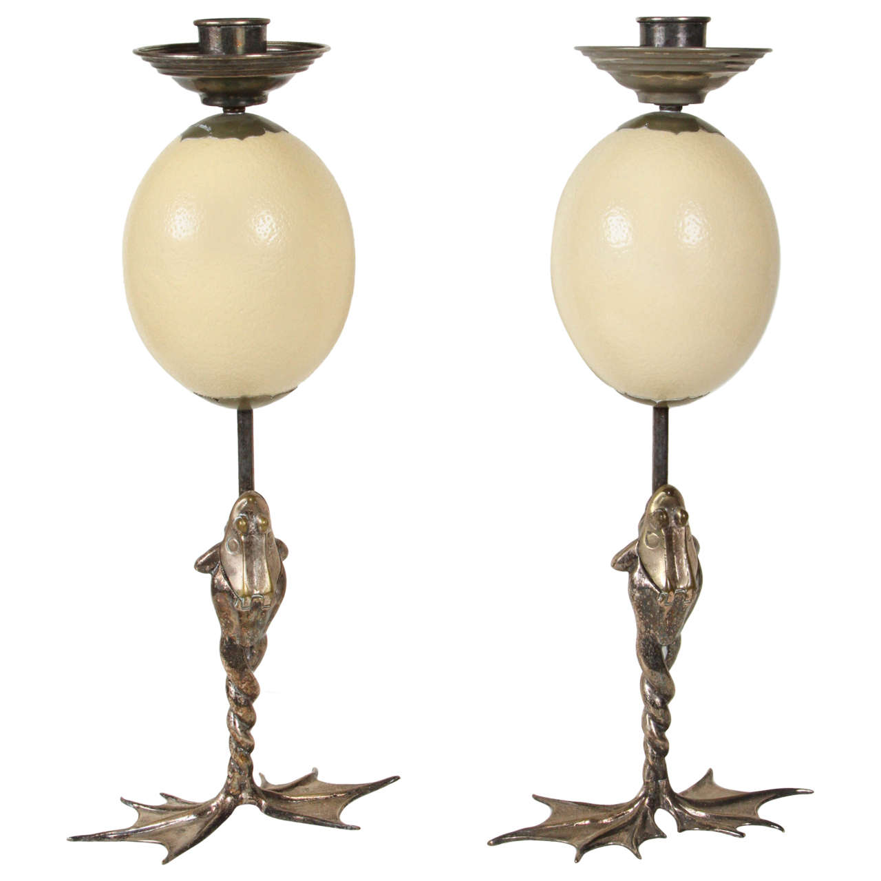 Pair of Anthony Redmile Frog Candlesticks with Ostrich Eggs