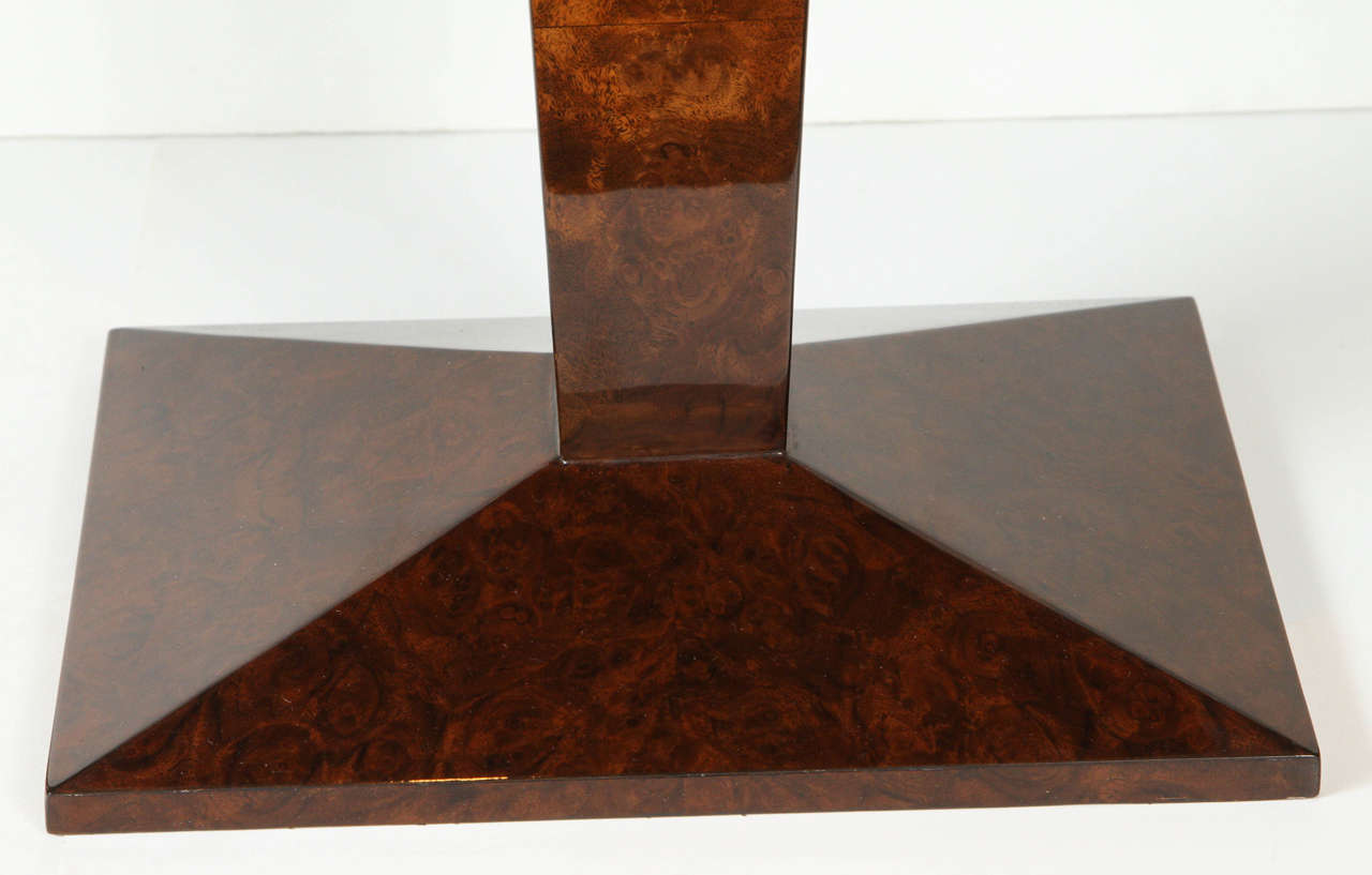 Art Deco French Burled Walnut Side Table For Sale