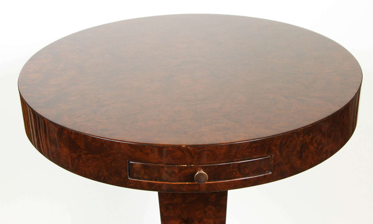American French Burled Walnut Side Table For Sale