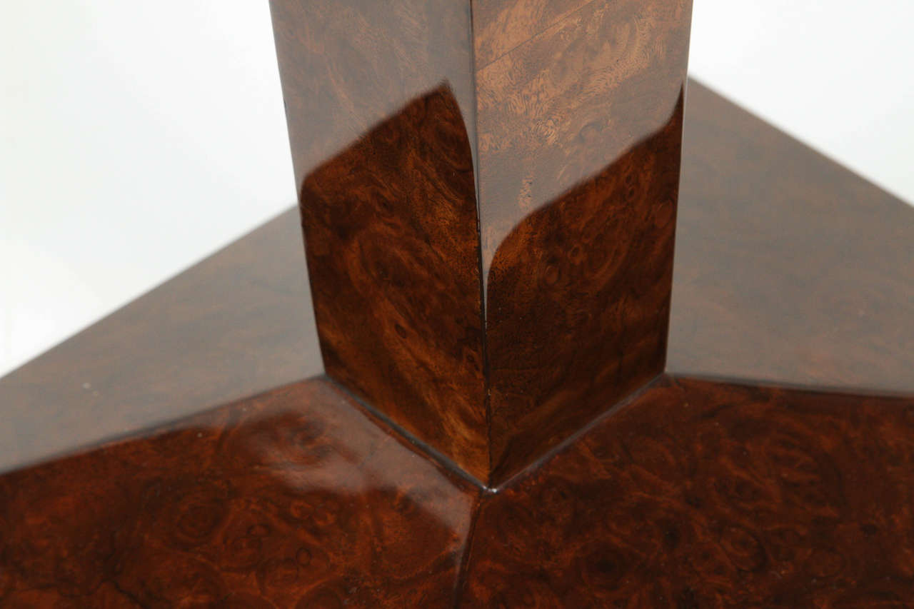 Mirror French Burled Walnut Side Table For Sale
