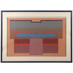 Geometric Abstract Print with Lacquer Frame