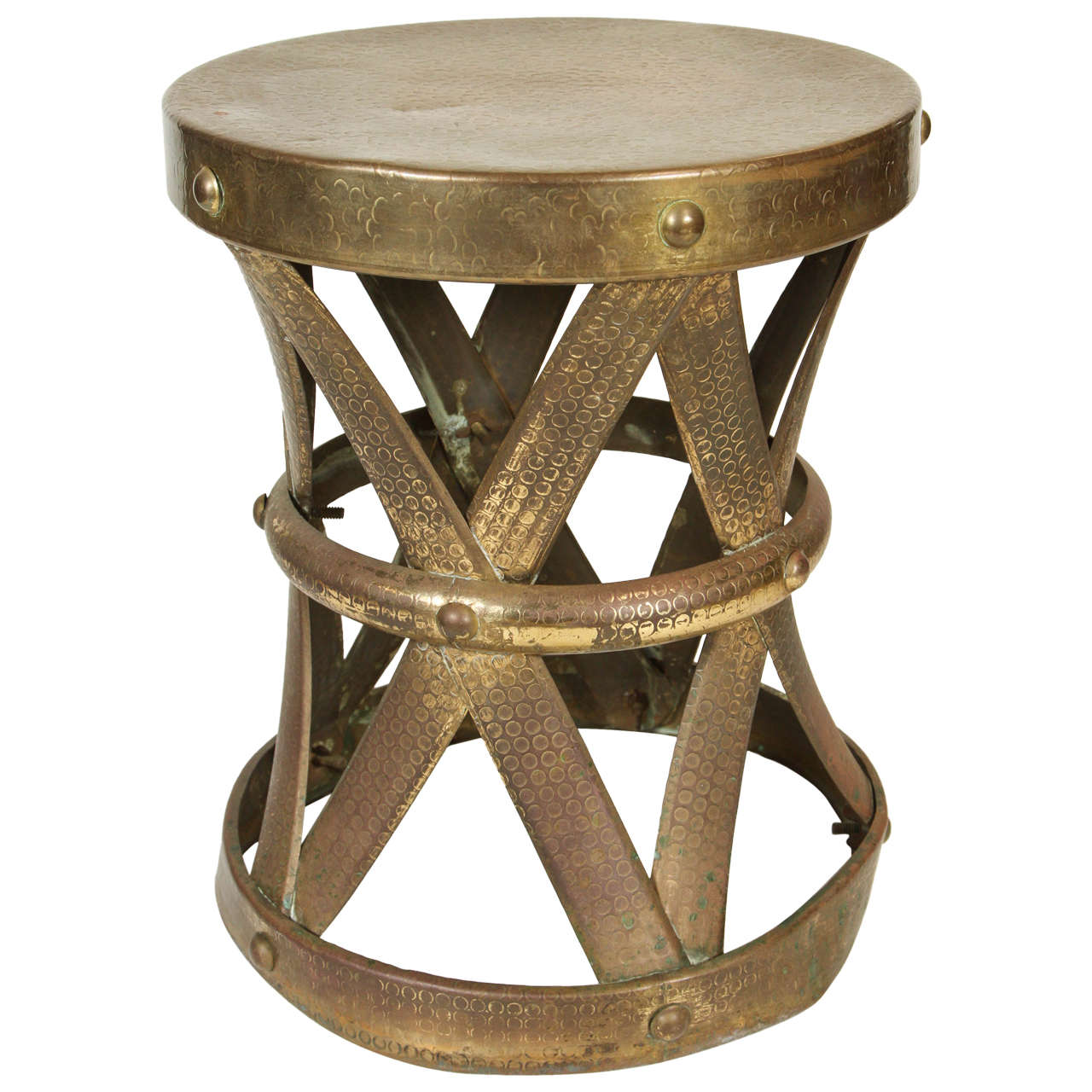 sc 1 st  1stDibs & Vintage Brass X-Drum Table or Stool at 1stdibs islam-shia.org
