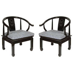 Black Ming Dynasty Lacquer Horseshoe Round Back Chairs