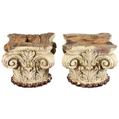 Pair of Ivory Painted Capitals from 19th Century Italy