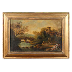 19th Century Landscape Painting in Gilt Frame from Italy Circa 1860