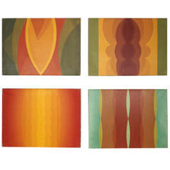 Set of Four Optical Art Oil Paintings