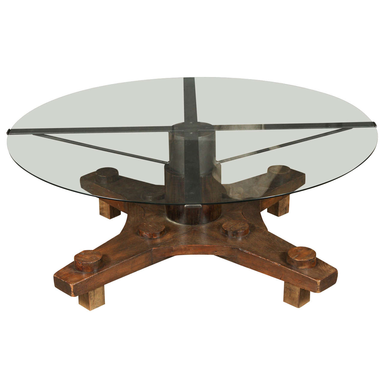 Table From Ship Port Part With Metal Base For Sale At Stdibs - Metal base picnic table