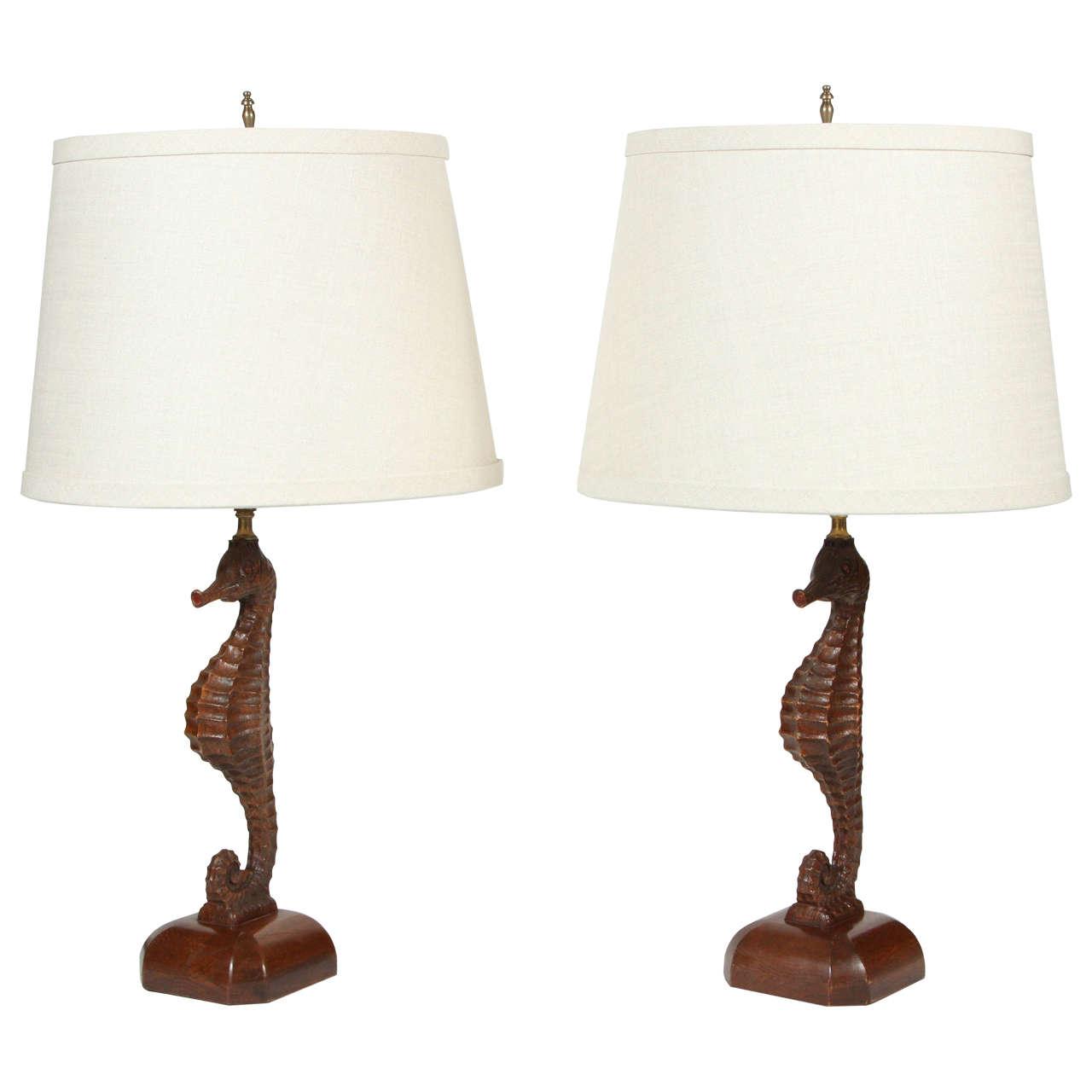 b seahorse lamp white embossed