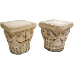 Pair of French Plaster Capitals