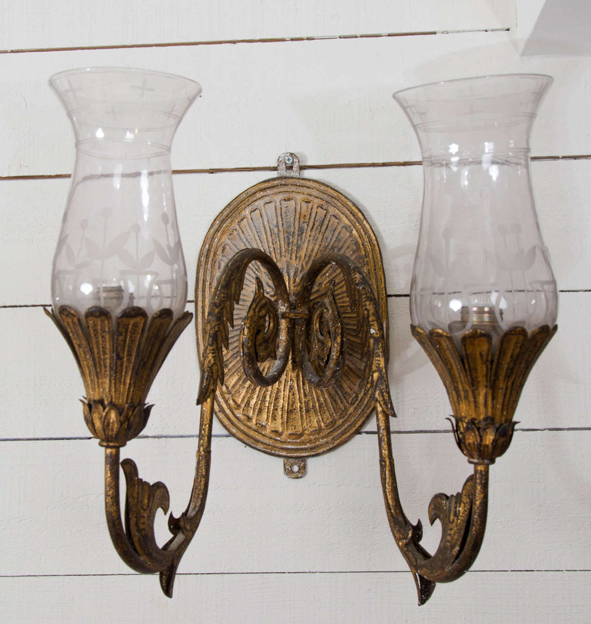 Cut Glass Wall Lights : Set of Four Mid-19th Century Gilded Tin and Cut Glass Wall Lights at 1stdibs