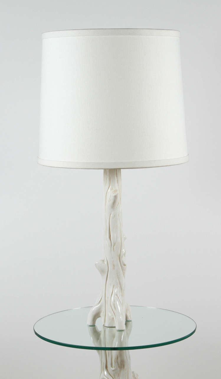 Mid-Century Modern Mid-Century Ceramic Faux Bois Floor Lamp For Sale
