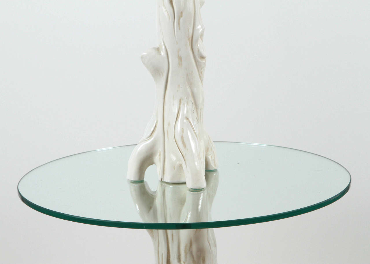 American Mid-Century Ceramic Faux Bois Floor Lamp For Sale