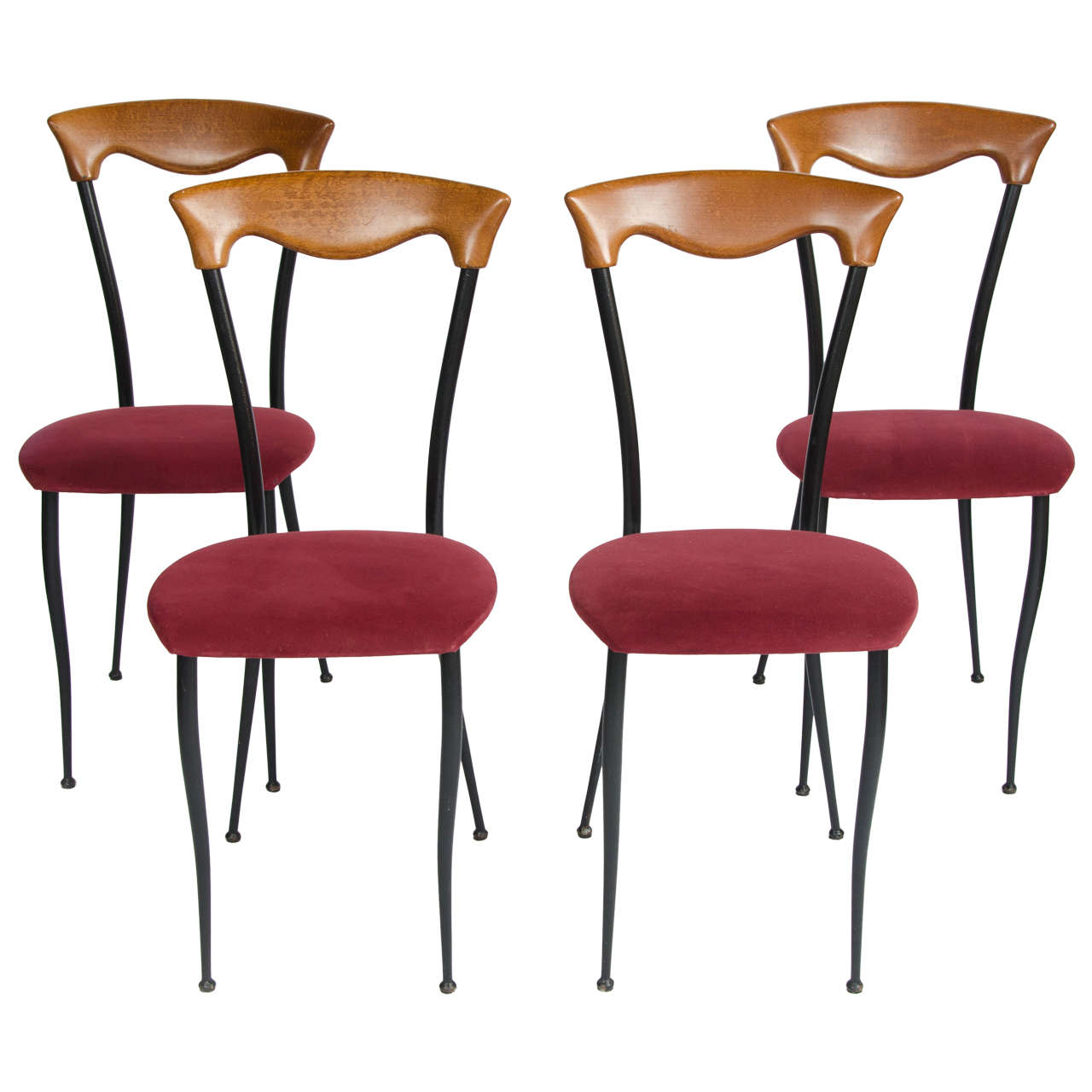 Four 1970s Italian Style Dining Chairs At 1stdibs