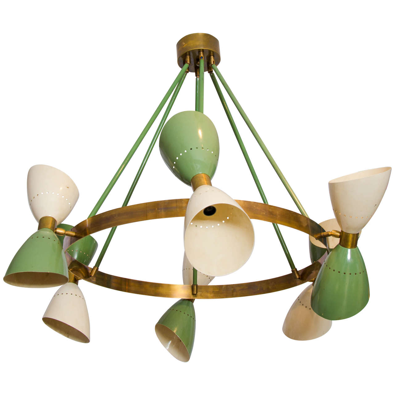 Large Italian 1950s Chandelier With Hourgl Shades 1