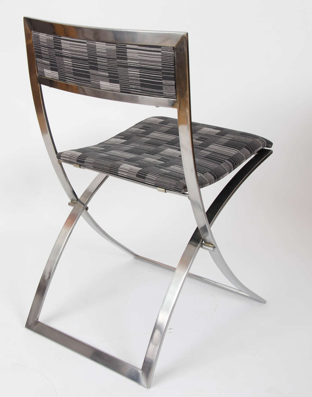 """Eight Stainless Steel 1960 s Folding Dining Chairs """"Luisa"""" by"""