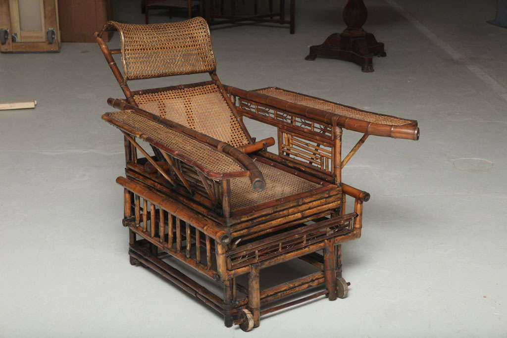 19th Century Chinese Export Bamboo chair lounge 2