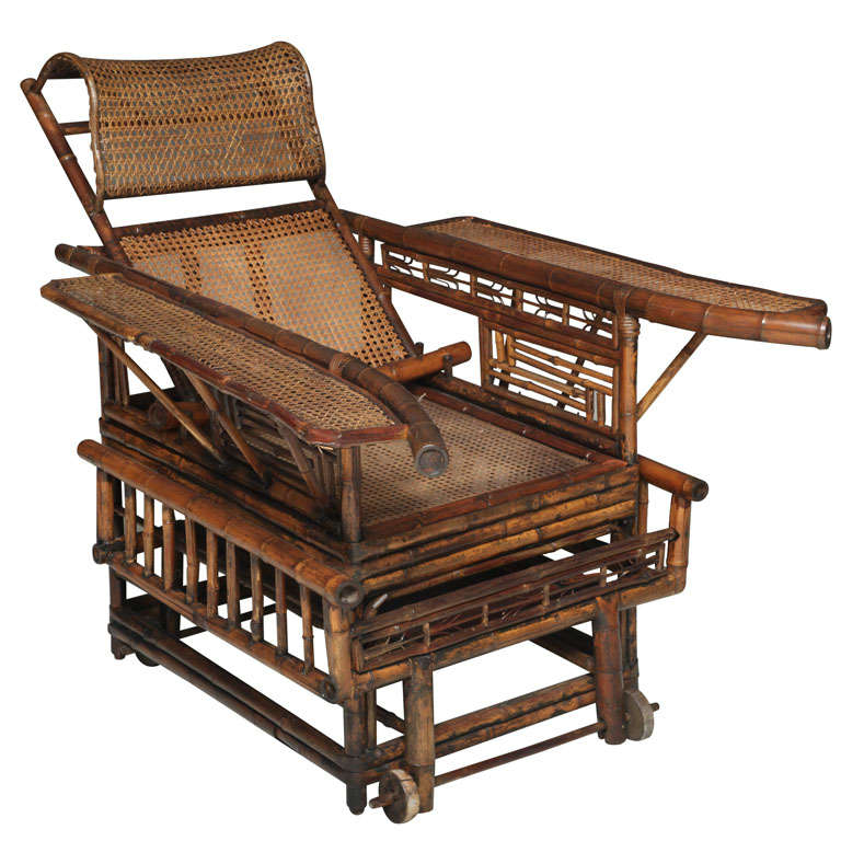 19th Century Chinese Export Bamboo chair lounge 1