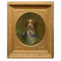 19th Century English Oil Painting of a Beagle Dog in Carved Giltwood Frame