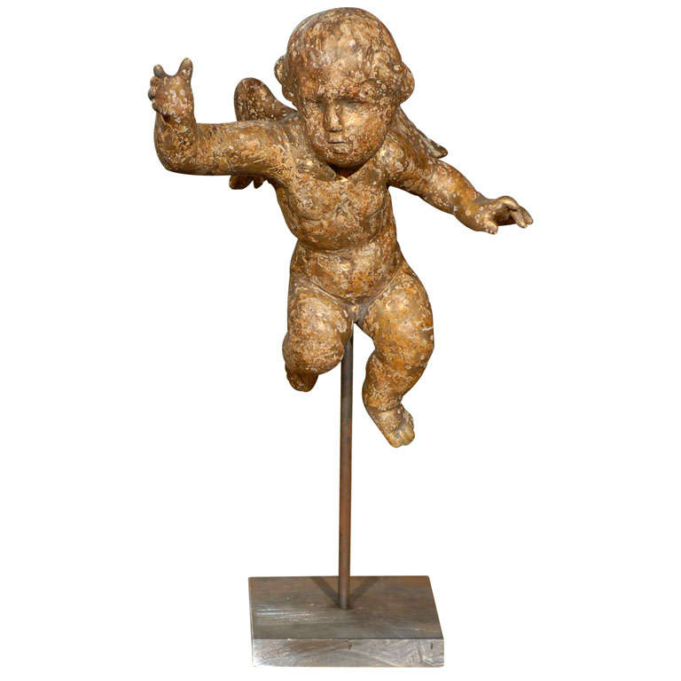 English Mid-19th Century Carved and Gilt Wood Cherub Sculpture on Custom Stand