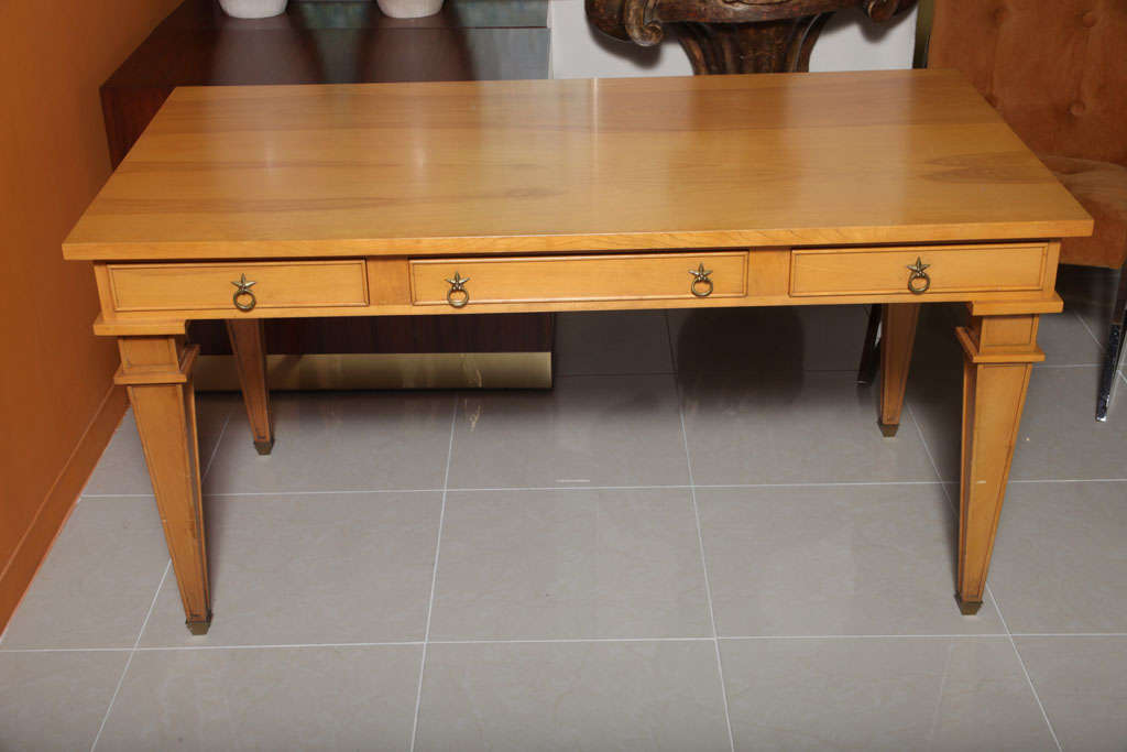 French André Arbus Sycamore Desk, Writing Table, Bureau Plat For Sale