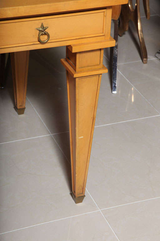 André Arbus Sycamore Desk, Writing Table, Bureau Plat In Excellent Condition For Sale In Hollywood, FL