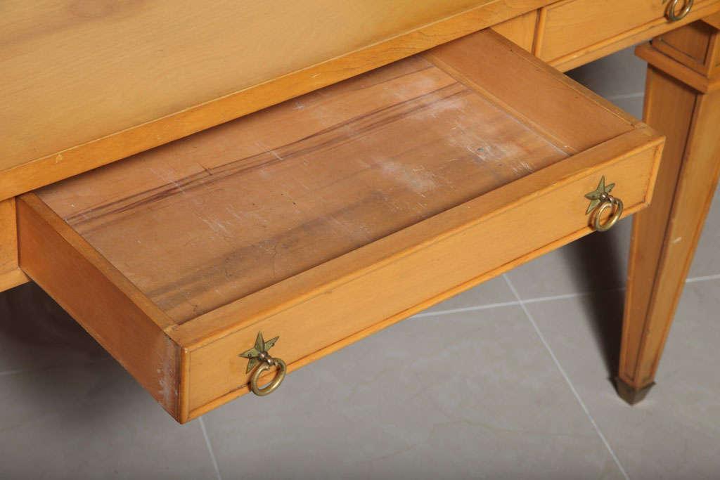 Mid-20th Century André Arbus Sycamore Desk, Writing Table, Bureau Plat For Sale