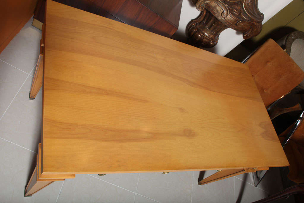 Wood André Arbus Sycamore Desk, Writing Table, Bureau Plat For Sale