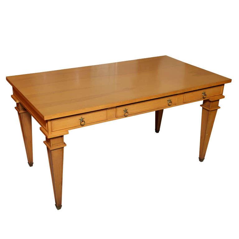 André Arbus Sycamore Desk, Writing Table, Bureau Plat For Sale