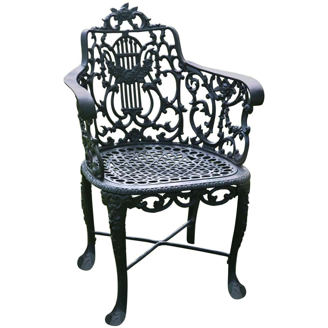 Armchair with Lyre Back Marked Robert Wood at 1stdibs