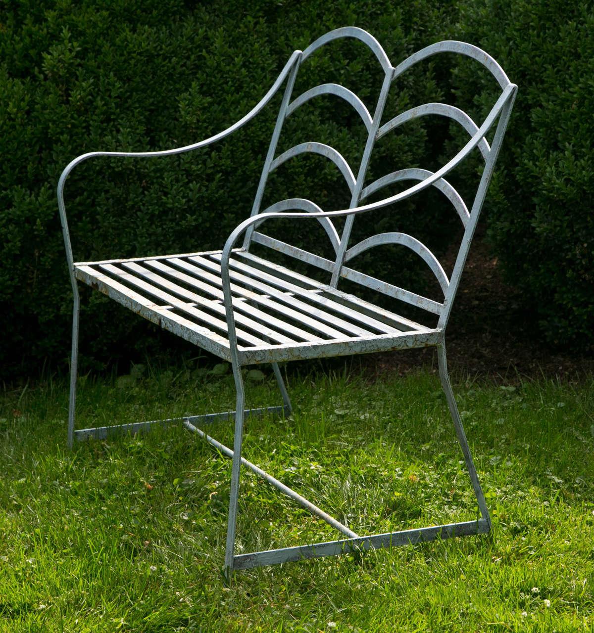 Wrought Iron Graphic English Garden Seat