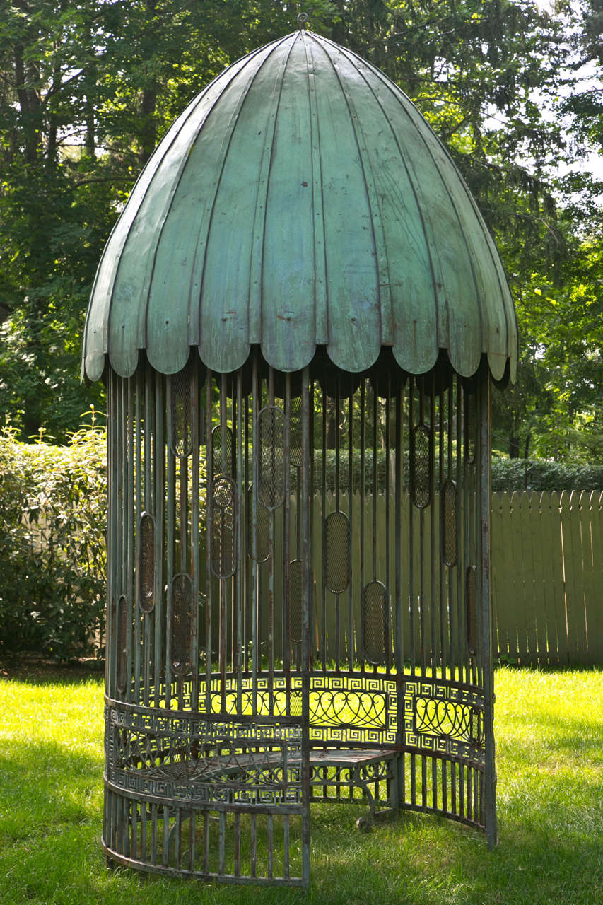American Gazebo with Copper Roof and Wrought-Iron Elements For Sale
