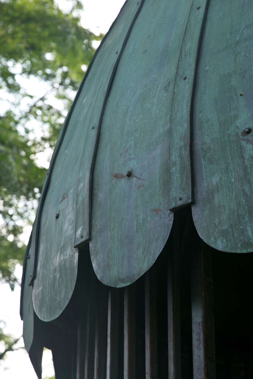 Gazebo with Copper Roof and Wrought-Iron Elements In Good Condition For Sale In Katonah, NY