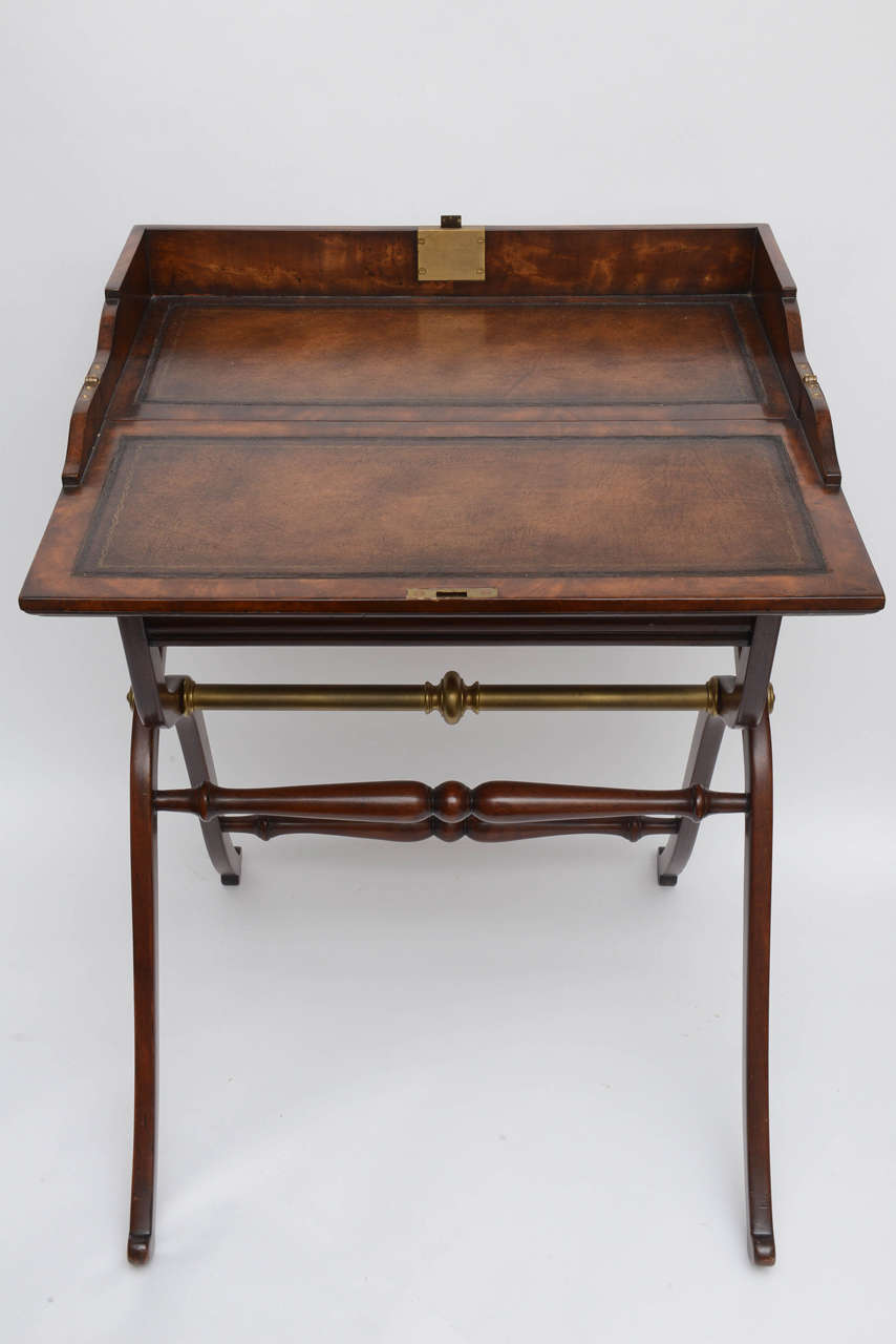 Unique folding Campaign desk with leather top. - Campaign Desk By Theodore Alexander At 1stdibs