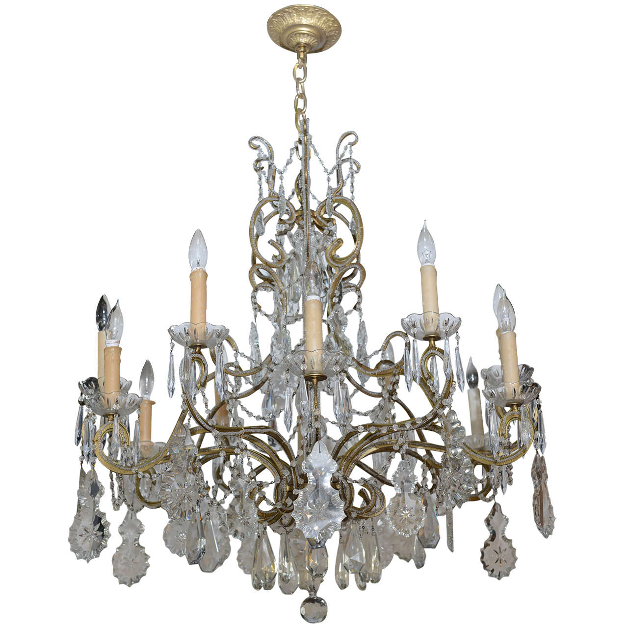 Vintage crystal chandelier for sale at 1stdibs - Chandeliers on sale online ...