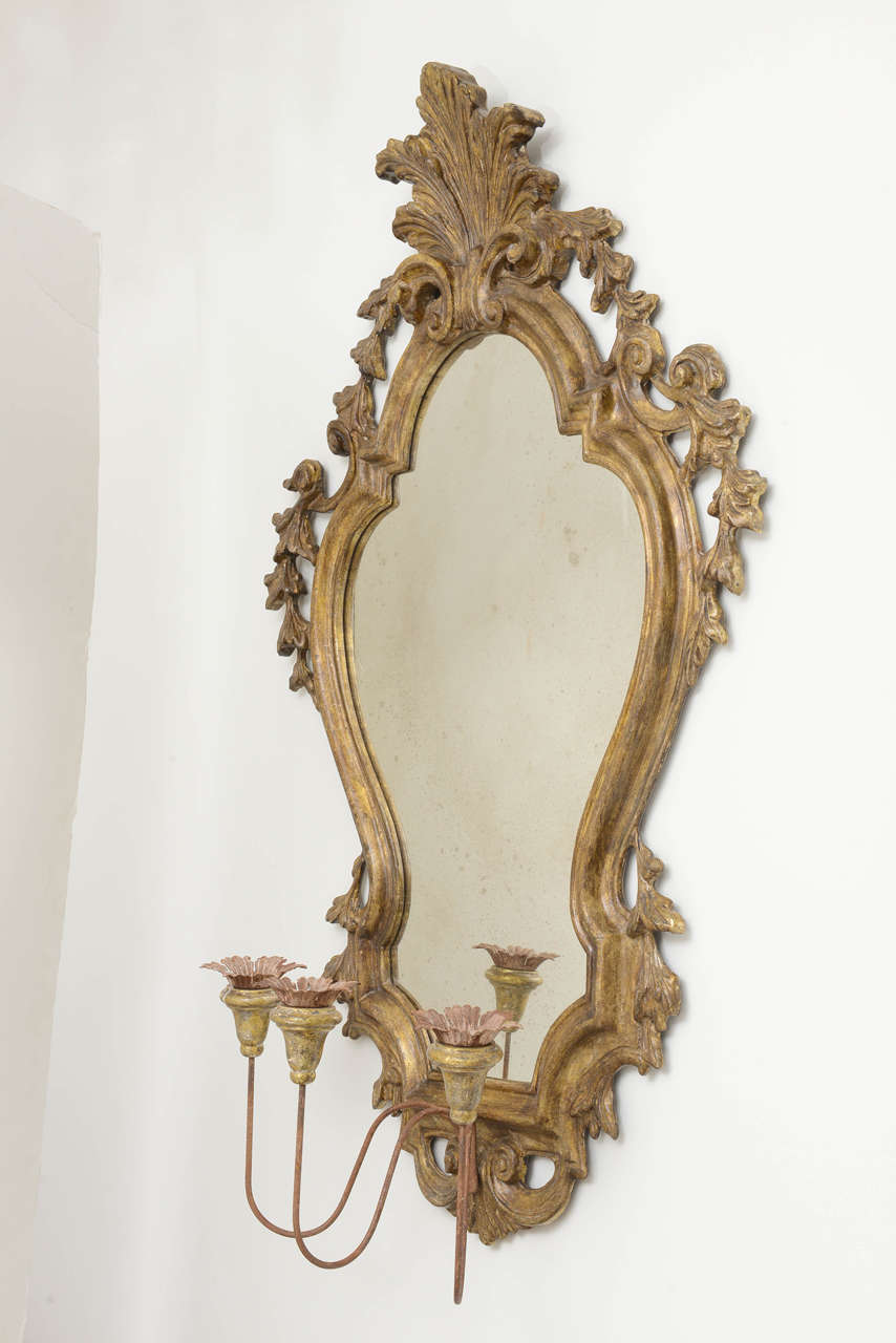 Pair of Venetian Mirrored Wall Sconses at 1stdibs