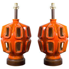 Amazing Pair of Midcentury Lamps with a Touch of Lava Glaze