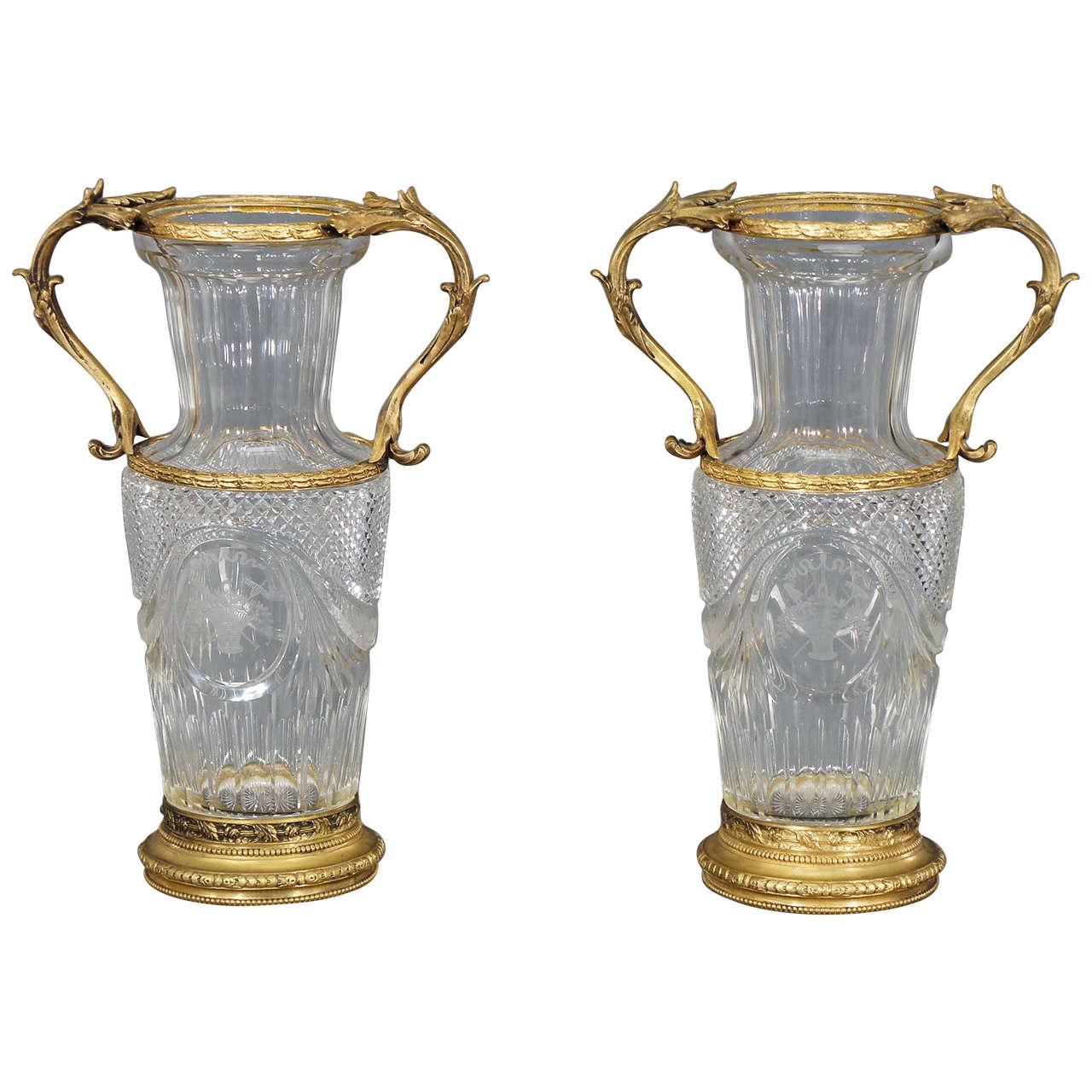 Pair of baccarat handblown crystal vases w wheel cut engraving pair of baccarat handblown crystal vases w wheel cut engraving and bronze mo for sale reviewsmspy