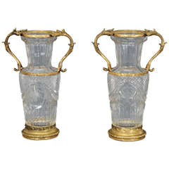 Pair of Baccarat Handblown Crystal Vases w/  Wheel Cut Engraving and Bronze Mo