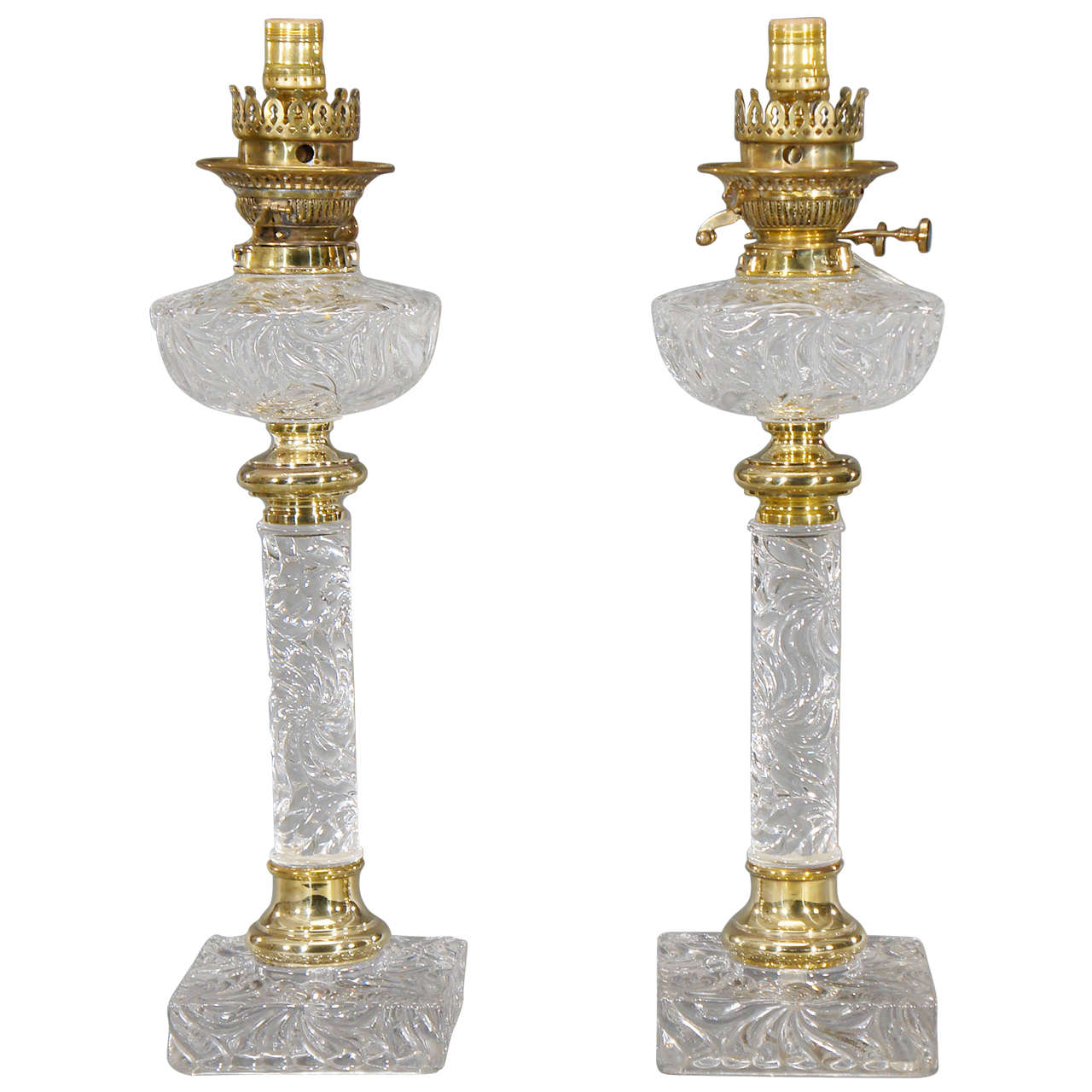 Original Lamps pair of baccarat molded crystal lamps with original fonts and