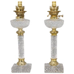 Pair of Baccarat Molded Crystal Lamps with Original Fonts and Brass Mounts