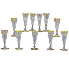 Set of 11 19th Century Baccarat Champagne Flutes or Goblets with Gold Tri