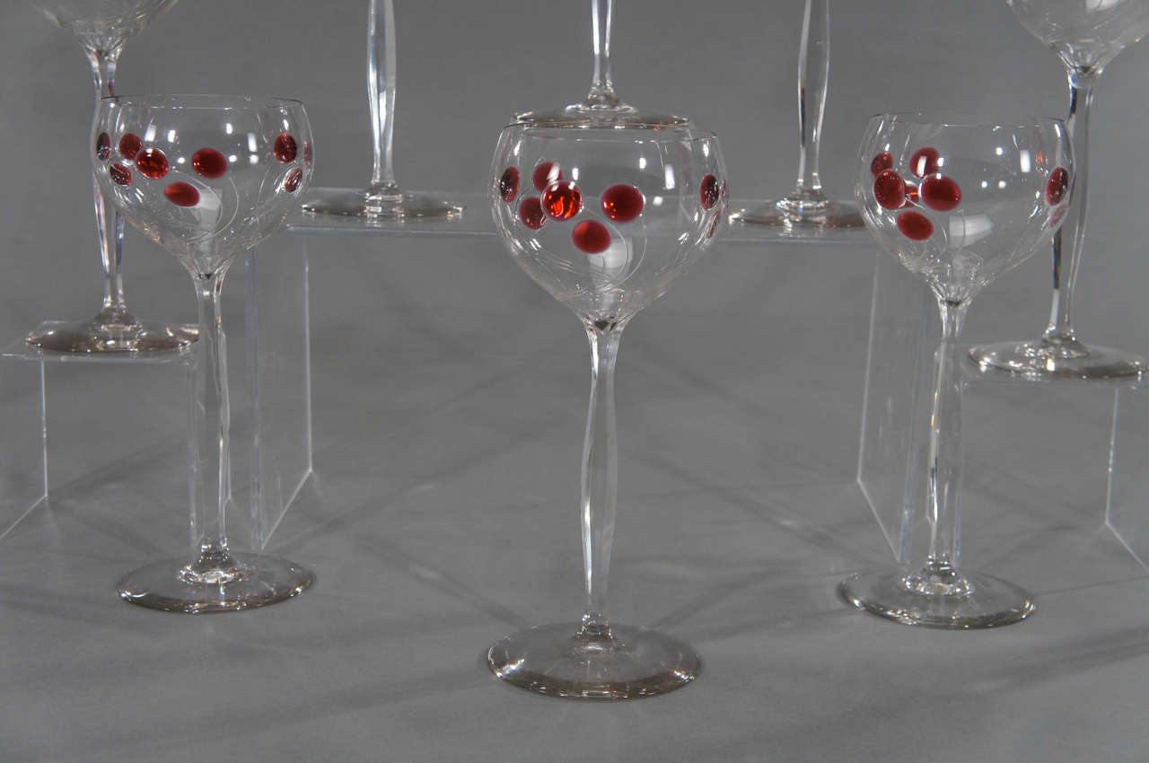 Set of 12 Handblown Art Nouveau Austrian Tall Crystal Goblets w/ Cherry Marquetr In Excellent Condition For Sale In Great Barrington, MA
