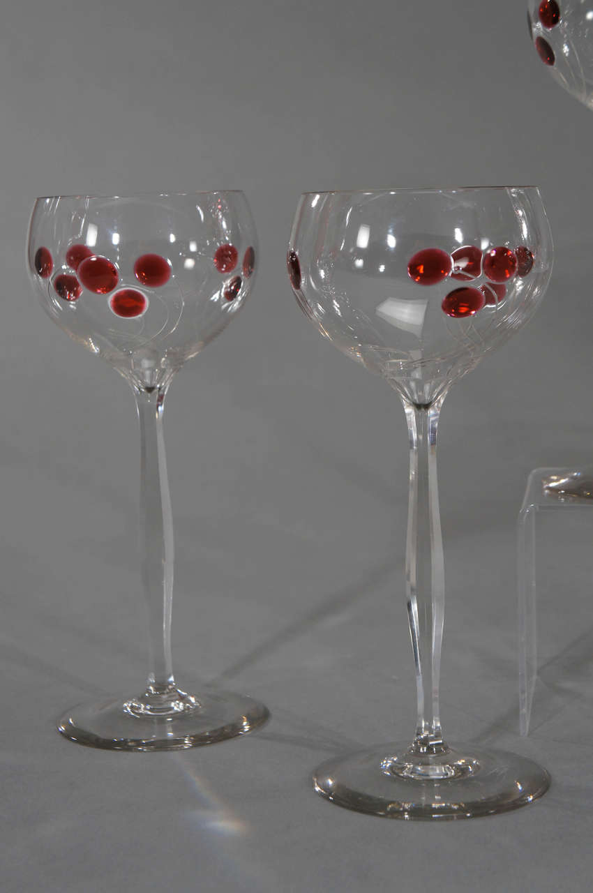 19th Century Set of 12 Handblown Art Nouveau Austrian Tall Crystal Goblets w/ Cherry Marquetr For Sale