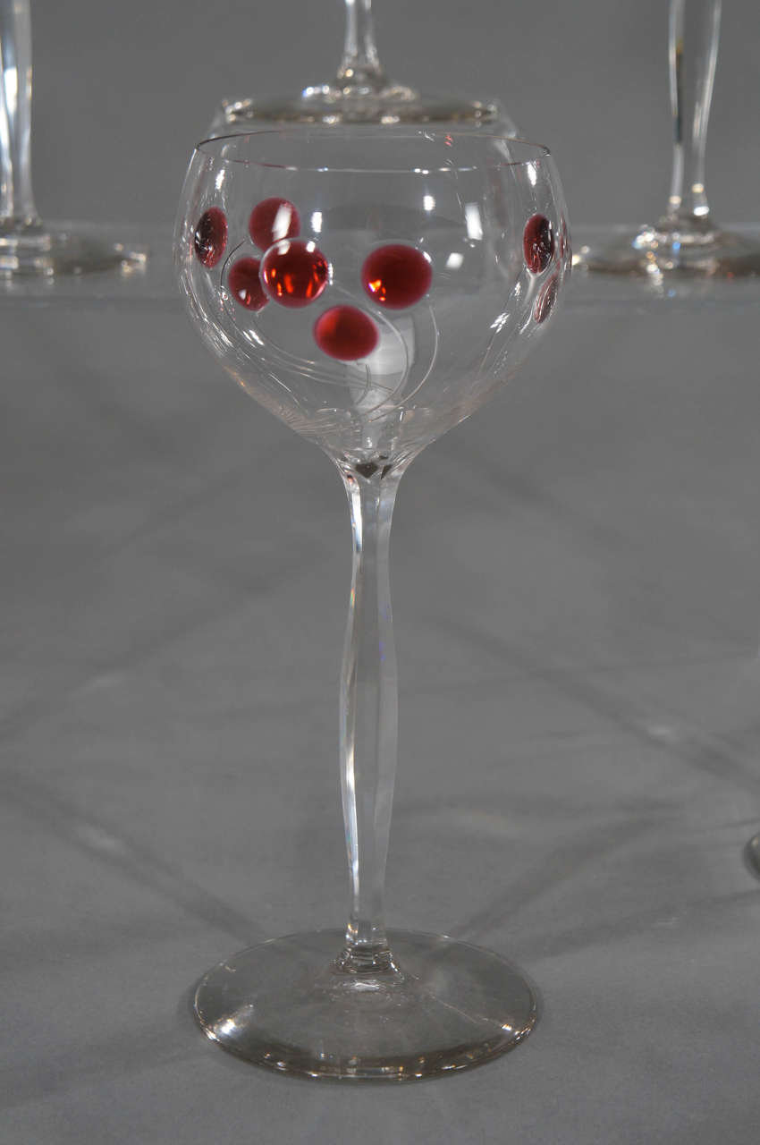Set of 12 Handblown Art Nouveau Austrian Tall Crystal Goblets w/ Cherry Marquetr For Sale 1