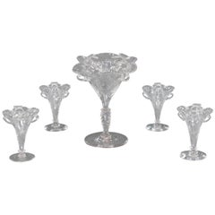 Signed Stevens & Williams Five-Piece Wheel Cut Centerpiece or Epergne