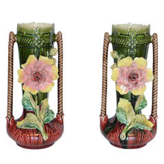 Pair of  French Majolica Vases with Flowers, Circa 1940